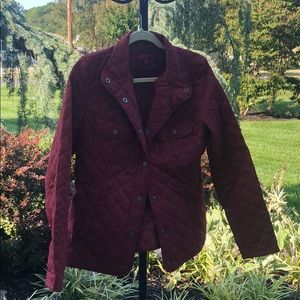 A burgundy jacket, great for fall weather